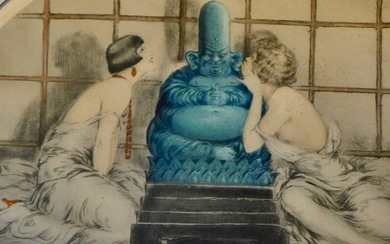 Louis Icart (1888-1950) - 'The Confidence'- Etching Art Deco