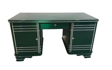 Art Deco desk 1920 from France Racing Green