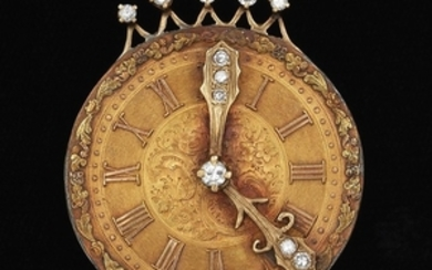 Antique Watch Dial Pendant Brooch with Diamonds
