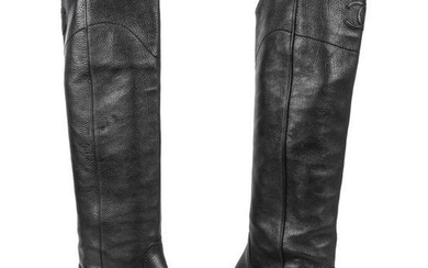 Chanel Boot Black Textured Leather Flat Knee High CC