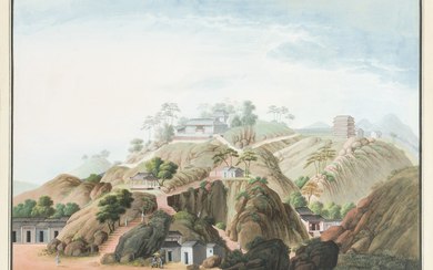 Chinese School, early 19th century, Guanyin Hill, Canton, with the five-storey pagoda and the Old City wall beyond