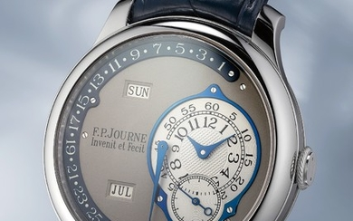 F.P. Journe, A unique and attractive platinum annual calendar wristwatch with retrograde date made for John Asprey
