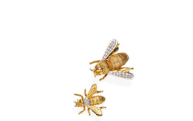 Two gold and diamond bee brooches