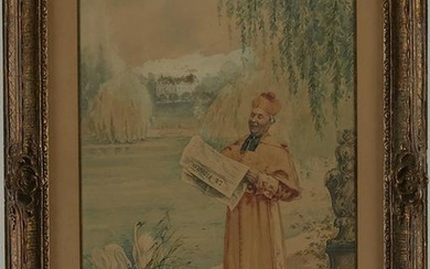 Vibert Cardinal Reading Newspaper Watercolor