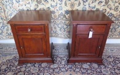 A pair of Victorian style bedside cabinets with frieze drawe...