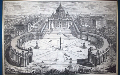 Piranesi, Giovanni: BIRD'S-EYE VIEW OF ST. PETER'S, WITH FORECOURT AND COLONNADES, Year 1775.