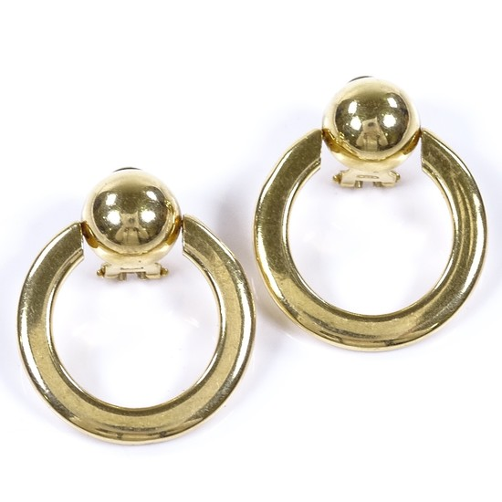 A pair of modern 18ct gold hoop earrings, earring height 32....