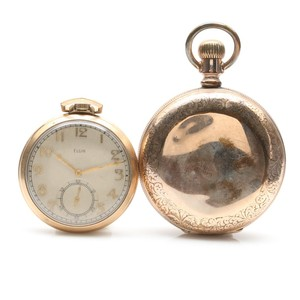 Lot Art | Elgin Gold Plated Pocket Watch And Antique Gold