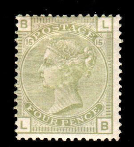 Great Britain 1877 - 4 d sage green - plate 15 - Stanley Gibbons N. 153