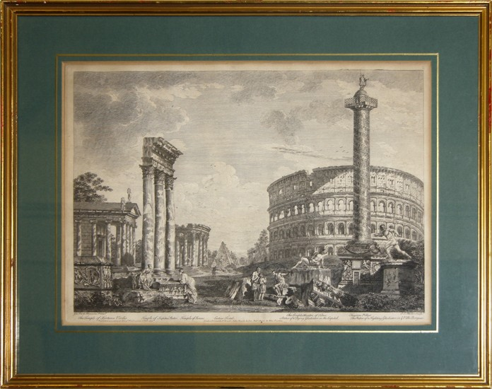Johann Sebastian Müller (After Giovanni Paolo Panini): Scenery of Roman Ruins with the Amphitheatre of Titus and the Trajan's Pillar, year 1753