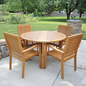 Lot Art Teak Smith Hawken Patio Table And Four Chairs