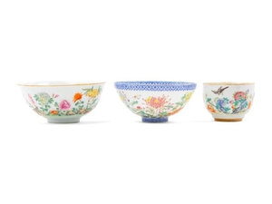 Three Chinese Porcelain Bowls 20TH CENTURY the first an