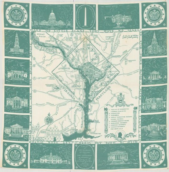 """Uncommon Handkerchief Map of DC, """"A Map of the District of Columbia and the Surrounding Country"""""""