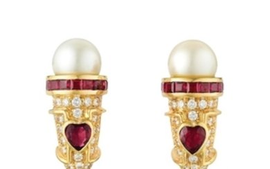 A Pair of Ruby Diamond and Cultured Pearl Earclips