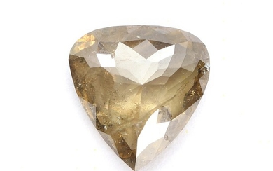 Unmounted, heartshaped diamond weighing app. 1.73 ct. Colour: Natural fancy yellowish brown. Clarity: I2.