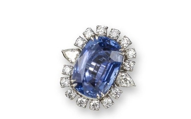 A sapphire and diamond cluster ring, the cushion s…