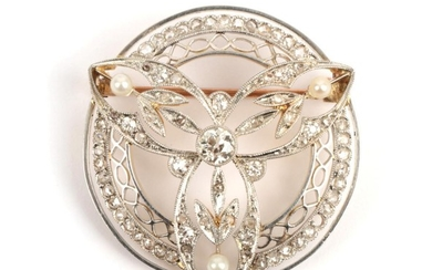 A Belle Epoque Diamond and Seed Pearl Brooch, of foliate...