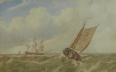 Miles Edmund Cotman (British, 1810-1858): 'Boats in a swell'...