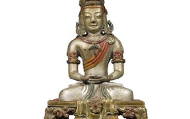 A POLYCHROME GILT-BRONZE FIGURE OF AMITAYUS QIANLONG MARK AND PERIOD DATED GENGYIN YEAR, CORRESPONDING TO 1770