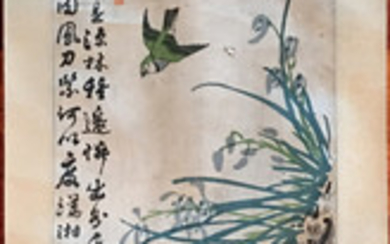 OLD Chinese Watercolor painting with birds and flowers, marked