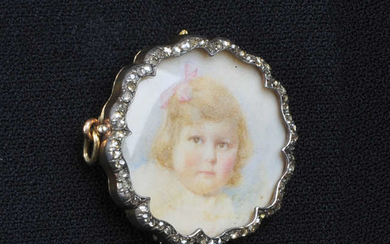 An early 20th century silver and 18ct gold portrait miniature brooch.