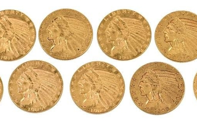 Group of Nine Gold Half Eagles