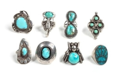 Eight Southwestern Silver and Turquoise Rings