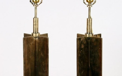 PAIR BRASS TABLE LAMPS MANNER JEAN-MICHEL FRANK