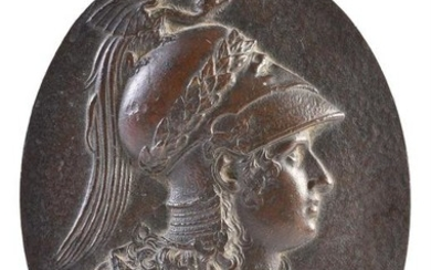A Continental, probably French or Italian, bronze relief portrait plaque of Minerva, late 16th/early 17th century