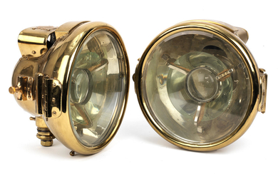 A fine pair of large Bleriot acetylene headlamps, patented 1904,