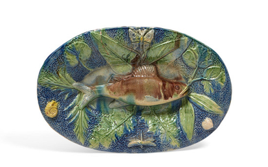 A French Palissy ware oval dish