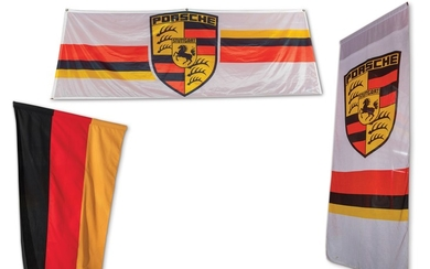 German Flag and Pair of Porsche Banners