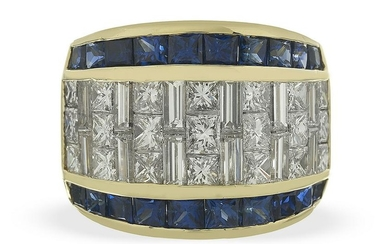 Large Diamond and Sapphire Band