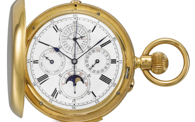 Le Roy & Son. An extremely fine, rare and large 18K gold hunter case minute repeating keyless lever chronograph watch with 60-minute register, perpetual calendar, moon phases and lunar calendar, SIGNED LE ROY & SON, TO THE QUEEN, 57, NEW BOND STREET,...