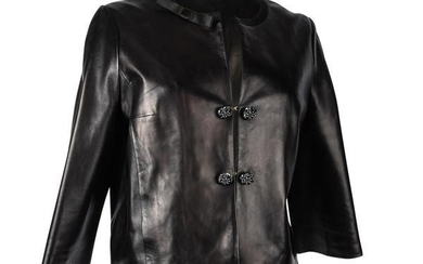 Louis Vuitton Jacket Black Leather Jeweled Buttons