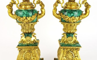 Pair of Magnificent 19th C. Gilt Bronze & Malachite