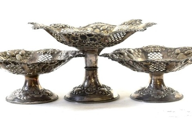 A set of Three Victorian Silver Dessert-Stands, by Cooper Brothers...