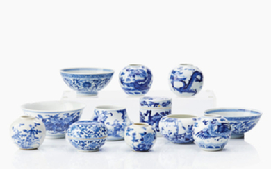 Twelve Chinese miniature blue and white vessels