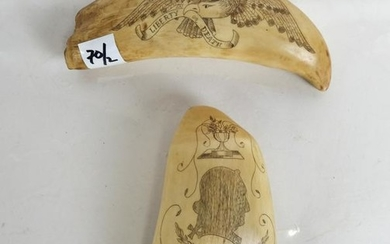 """Two Scrimshaw Tooth Carvings - """"Liberty or Death"""""""