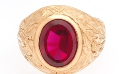 Russian Rose Gold and Synthetic Ruby Signet Ring