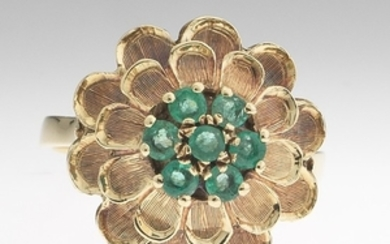 Ladies' Vintage Gold and Emerald Flower Ring