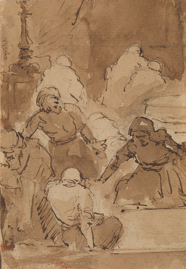 REMBRANDT VAN RIJN (FOLLOWER OF) (Leiden 1606 1669 Amsterdam) Christ Chasing the Money Lenders from the Temple.