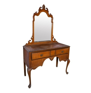 Lot Art Vintage Queen Anne Style Vanity And Mirror