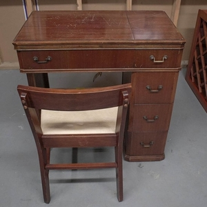 Remarkable Lot Art Vintage Sewing Cabinet With White Sewing Machine Theyellowbook Wood Chair Design Ideas Theyellowbookinfo
