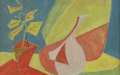 """Oil on canvas, abstract still life, unsigned, 10"""" x 14"""", fra..."""