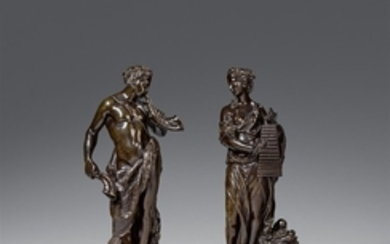 Cast bronze figures of a satyr and a nymph, F ..., Satyr und Nymphe