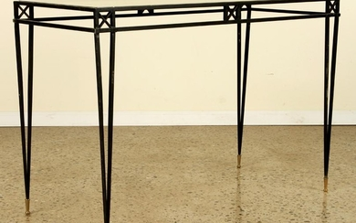 IRON X-FORM CONSOLE TABLE GLASS TOP C.1940