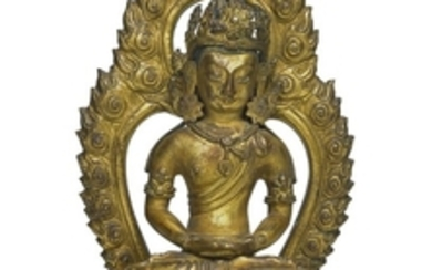 A GILT-BRONZE FIGURE OF AMITAYUS QIANLONG MARK AND PERIOD DATED GENGYIN YEAR, CORRESPONDING TO 1770