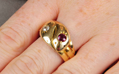 An early 20th century 18ct gold ruby and old-cut diamond snake ring.