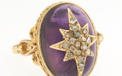 Ladies' English Victorian Style Gold, Amethyst and Diamond Ring